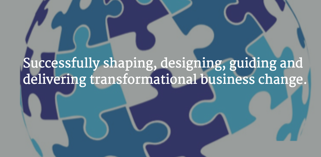 Transformation Delivery Logo with 'successfully shaping, designing, guiding and delivering transformational business change' overlaid